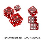 red dices on a white background | Shutterstock . vector #697480936