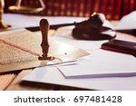 metal wax notary public stamper ... | Shutterstock . vector #697481428
