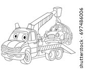 coloring page of cartoon tow... | Shutterstock .eps vector #697486006