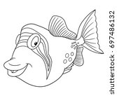 Coloring Page Cartoon Triggerfish Trigger Fish Stock Vector 697486132