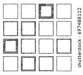 set of vector halftone grunge... | Shutterstock .eps vector #697488112