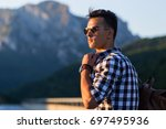 handsome white man posing... | Shutterstock . vector #697495936