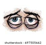 Tired Eyes Cartoon Hand Drawn...