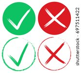 check mark stickers grunge... | Shutterstock .eps vector #697511422