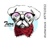 vector white dog with scarf and ... | Shutterstock .eps vector #697513312