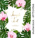 tropical leaves with orchid... | Shutterstock .eps vector #697514566