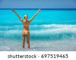 beautiful young happy woman... | Shutterstock . vector #697519465