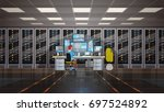 man working in data center room ... | Shutterstock .eps vector #697524892
