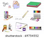 school art supplies  group of... | Shutterstock .eps vector #69754552