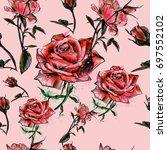 beautiful watercolor pattern... | Shutterstock .eps vector #697552102