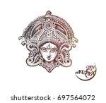 happy navratri  vector... | Shutterstock .eps vector #697564072