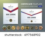 certificate template with... | Shutterstock .eps vector #697568902