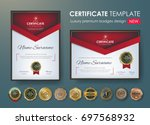 certificate template with... | Shutterstock .eps vector #697568932