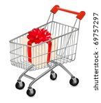 shopping cart with presents.... | Shutterstock .eps vector #69757297