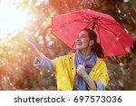 happy beautiful young woman...   Shutterstock . vector #697573036