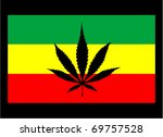 rasta flag with marijuana leaf... | Shutterstock .eps vector #69757528
