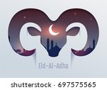 eid al adha feast of sacrifice. ... | Shutterstock .eps vector #697575565