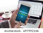 online reviews evaluation time... | Shutterstock . vector #697592146