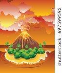 illustration of cartoon volcano ... | Shutterstock .eps vector #697599592