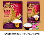 golden and purple rice package...   Shutterstock .eps vector #697604596