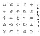 mini icon set   airplane and... | Shutterstock .eps vector #697617226
