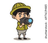 jungle explorer kid cartoon... | Shutterstock .eps vector #697619485