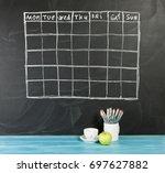 grid timetable schedule on... | Shutterstock . vector #697627882