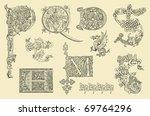 vintage initials letters p q d... | Shutterstock . vector #69764296
