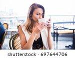 young beauty girl posing in...   Shutterstock . vector #697644706