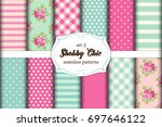 set of 12 cute seamless shabby... | Shutterstock .eps vector #697646122