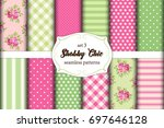 set of 12 cute seamless shabby... | Shutterstock .eps vector #697646128