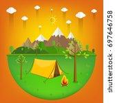 summer landscape. morning... | Shutterstock .eps vector #697646758
