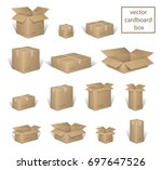 carton delivery packaging open... | Shutterstock .eps vector #697647526