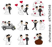 wedding doodle couple  bride... | Shutterstock .eps vector #697654348
