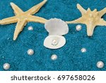 pearls and shells | Shutterstock . vector #697658026