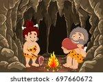 cartoon prehistoric caveman... | Shutterstock .eps vector #697660672