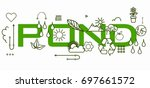 pond word with icons.  | Shutterstock . vector #697661572