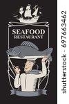 vector menu for seafood... | Shutterstock .eps vector #697663462
