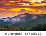 Small photo of Beautiful twilight sky with mountain view on peak in evening at Mea Lanoi Mea Hong Son province Thailand.
