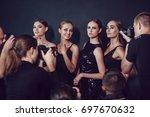 photographers paparazzi take... | Shutterstock . vector #697670632