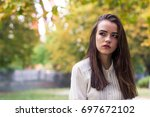portrait of a beautiful young...   Shutterstock . vector #697672102