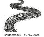 grunge tire track background... | Shutterstock .eps vector #697673026