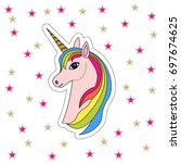 pink unicorn head with rainbow... | Shutterstock .eps vector #697674625
