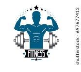 bodybuilding weightlifting gym... | Shutterstock . vector #697677412