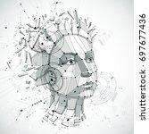 communication technology 3d... | Shutterstock . vector #697677436