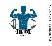 bodybuilding weightlifting gym... | Shutterstock . vector #697677442