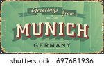 munich vintage sign. munich... | Shutterstock .eps vector #697681936