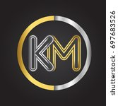 km letter logo in a circle.... | Shutterstock .eps vector #697683526