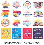 literacy and teachers day...   Shutterstock .eps vector #697693756