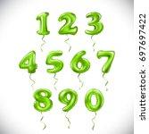 vector green number 1  2  3  4  ... | Shutterstock .eps vector #697697422